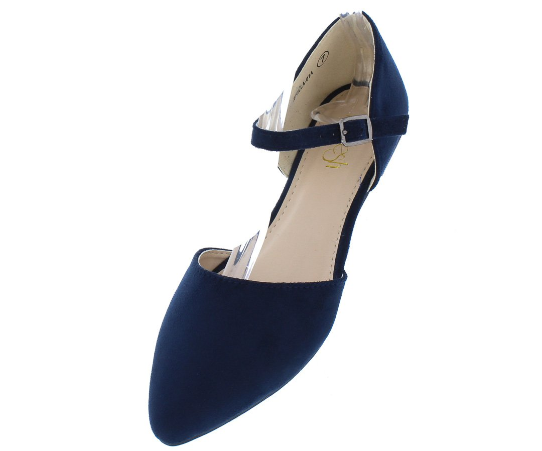 033f923b35c Shilla01a Navy Pointed Toe Ankle Strap Dorsay Flat - Wholesale Fashion Shoes