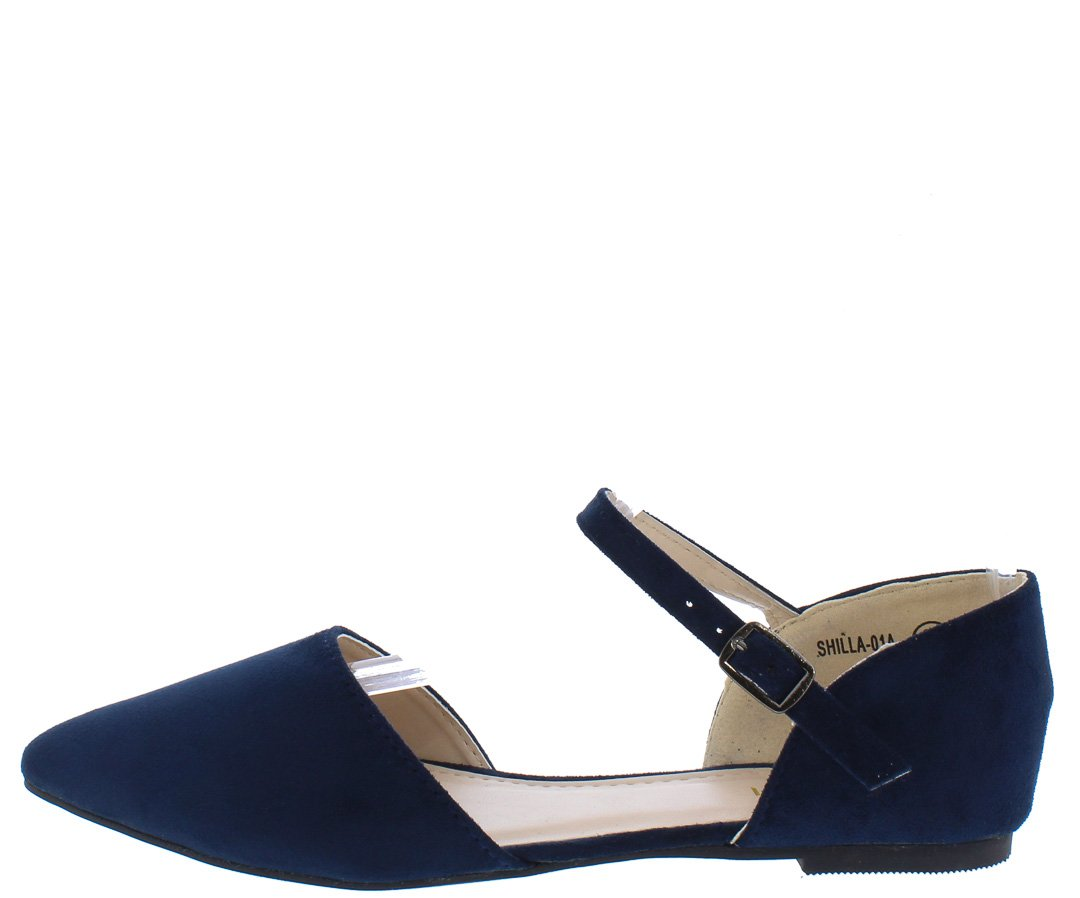 af5b1596428 Shilla01a Navy Pointed Toe Ankle Strap Dorsay Flat Only  10.88. - Wholesale  Fashion Shoes