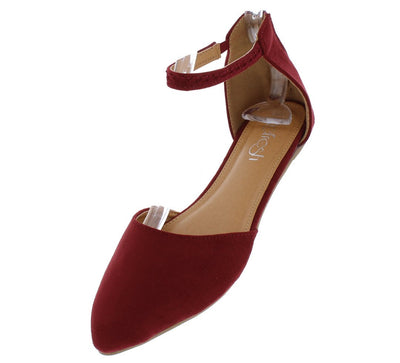 Shilla03 Red Woman's Flat - Wholesale Fashion Shoes