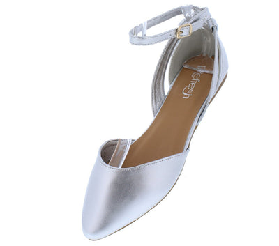 Shilla05 Silver Pointed Toe Cut Out Ankle Strap Dorsay Flat - Wholesale Fashion Shoes