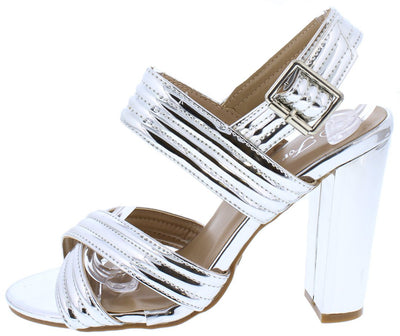 Shine82 Silver Quilted Open Toe Cross Band Chunky Heel - Wholesale Fashion Shoes