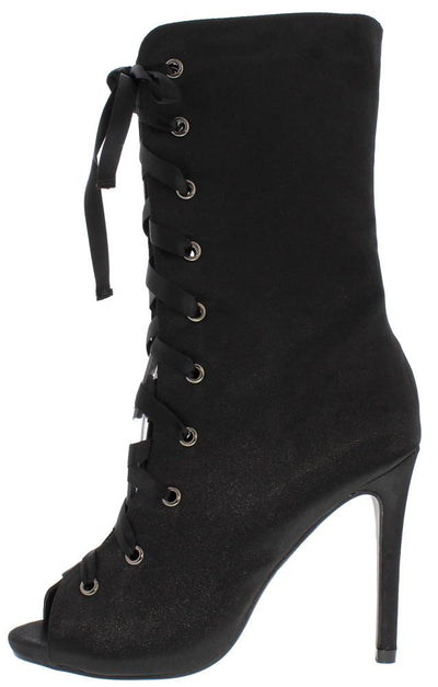 Shinny1 Black Satin Peep Toe Lace Up Mid Calf Boot - Wholesale Fashion Shoes