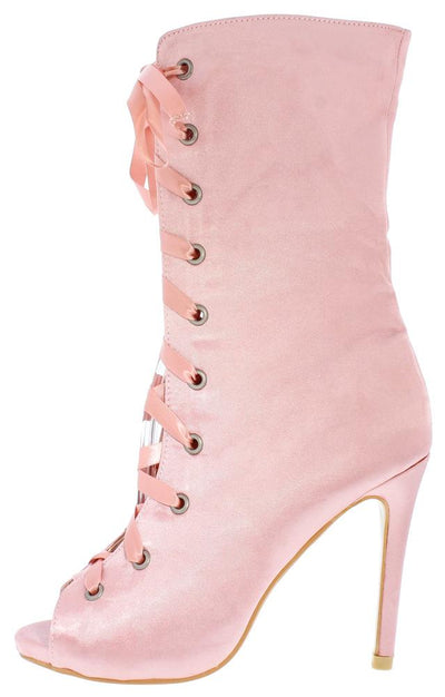 Shinny1 Blush Satin Peep Toe Lace Up Mid Calf Boot - Wholesale Fashion Shoes
