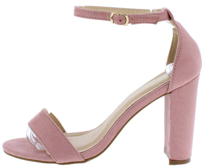 Shirley1 Mauve Open Toe Ankle Strap Tapered Block Heel - Wholesale Fashion Shoes