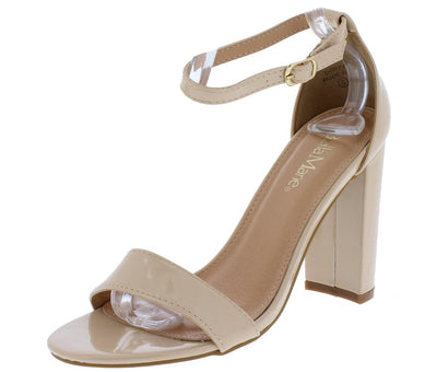 Shirley1 Nude Patent Open Toe Ankle Strap Tapered Block Heel - Wholesale Fashion Shoes
