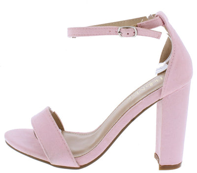 Shirley1 Pink Open Toe Ankle Strap Tapered Block Heel - Wholesale Fashion Shoes
