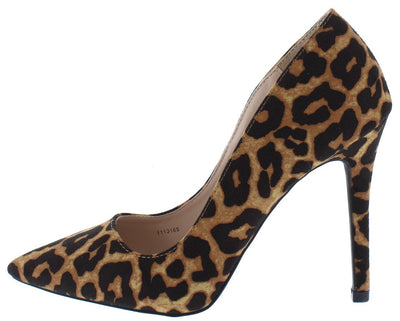 Show01 Camel Leopard Suede Pu Pointed Toe Stiletto Heel - Wholesale Fashion Shoes