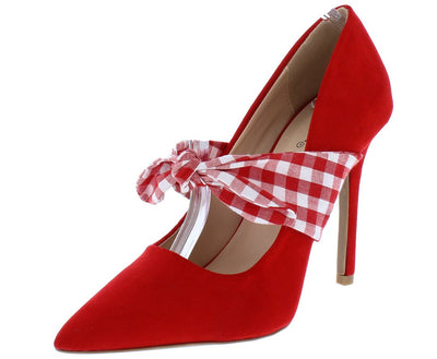 Show11 Red Suede Pu Pointed Toe Gingham Tie Stiletto Heel - Wholesale Fashion Shoes