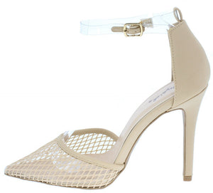 b37c573f83fa Show27 Nude Mesh Pointed Toe Lucite ankle Strap Heel - Wholesale Fashion  Shoes