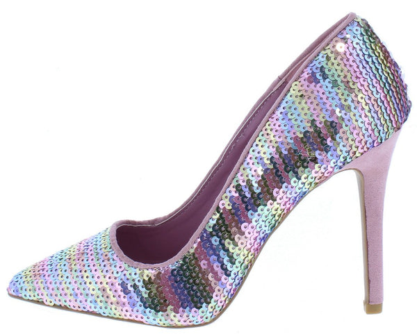 d3b449b76a1eb8 Show55 Pink Multi Sequin Pointed Toe Stiletto Heel