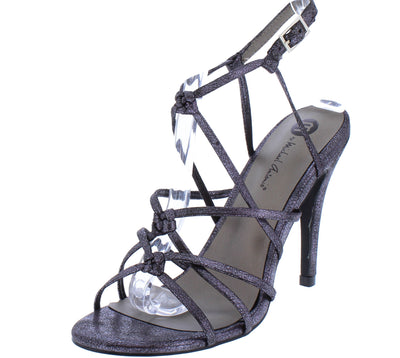 Aria108 Pewter Knotted Strappy Open Toe Slingback Stiletto Heel - Wholesale Fashion Shoes