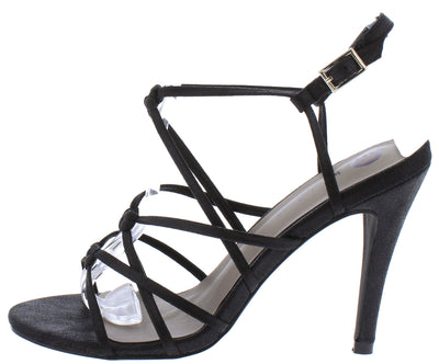 Aria108 Black Knotted Strappy Open Toe Slingback Stiletto Heel - Wholesale Fashion Shoes