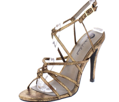 Aria108 Gold Knotted Strappy Open Toe Slingback Stiletto Heel - Wholesale Fashion Shoes