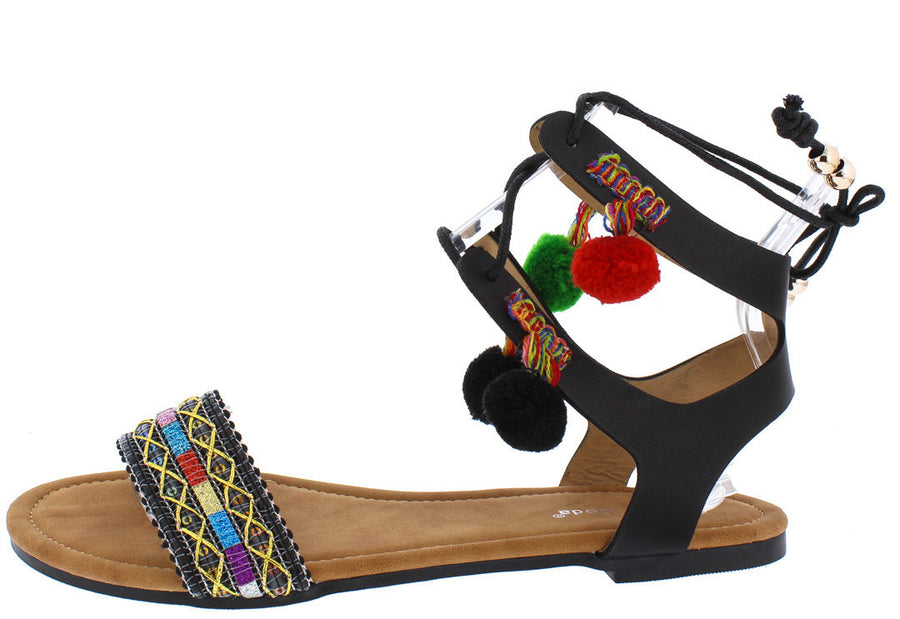 efd388690 Simpson1 Black Pom Pom Embroidered Lace Up Sandal - Wholesale Fashion Shoes