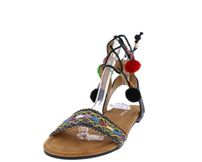 Simpson1 Black Pom Pom Embroidered Lace Up Sandal - Wholesale Fashion Shoes