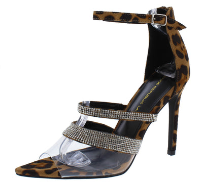 Sirena Leopard Sparkle Lucite Peep Toe Ankle Strap Stiletto Heel - Wholesale Fashion Shoes