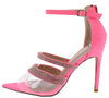 Sirena Pink Sparkle Lucite Peep Toe Ankle Strap Stiletto Heel - Wholesale Fashion Shoes