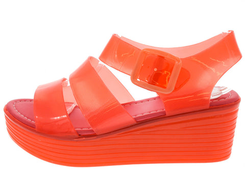 SKIMM36 RED TRANSLUCENT JELLY PLATFORM SANDAL - Wholesale Fashion Shoes - 1