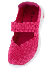 SKY6K FUCHSIA WOVEN ANKLE STRAP KIDS FLAT - Wholesale Fashion Shoes