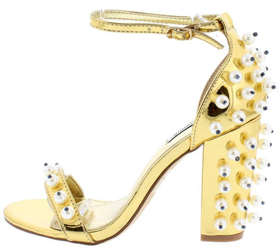 Skylar1 Gold Metallic Beaded Pearl Ankle Strap Heel - Wholesale Fashion Shoes