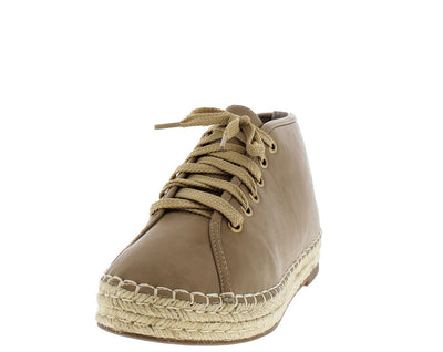 Skylar2 Taupe Espadrille Lace Up Sneaker Flat - Wholesale Fashion Shoes