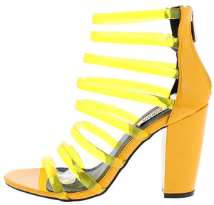 a36525656 Skylar34 Yellow Multi Jelly Strap Open Toe Chunky Heel - Wholesale Fashion  Shoes