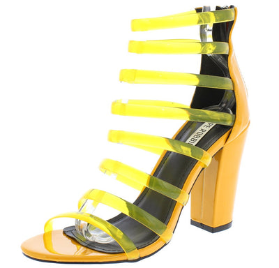 Skylar34 Yellow Multi Jelly Strap Open Toe Chunky Heel - Wholesale Fashion Shoes