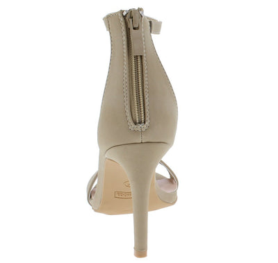 Sloan1 Beige Open Toe Ankle Strap Rear Zip Stiletto Heel - Wholesale Fashion Shoes