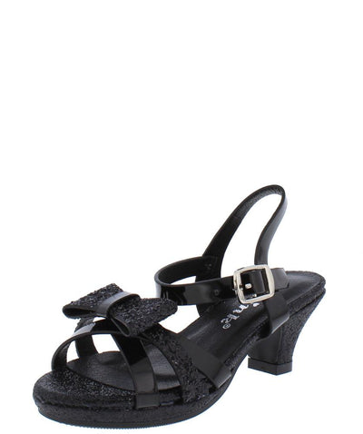 Smart79k Kids Black Dual Texture Strappy Bow Low Heel - Wholesale Fashion Shoes