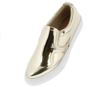 Sohos Light Gold Metallic Round Toe Slide on Sneaker Flat - Wholesale Fashion Shoes