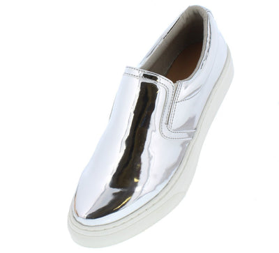 Sohos Silver Metallic Round Toe Slide on Sneaker Flat - Wholesale Fashion Shoes