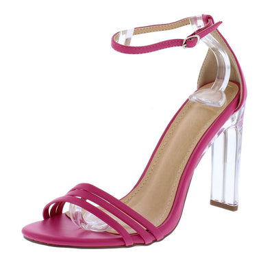 Adriana218 Fuchsia Open Toe Ankle Strap Lucite Block Heel - Wholesale Fashion Shoes