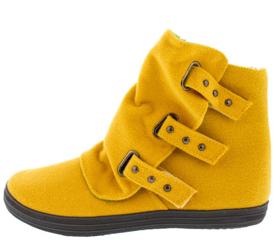 Solis01 Mustard Slouch Multi Stud Strap Ankle Boot - Wholesale Fashion Shoes