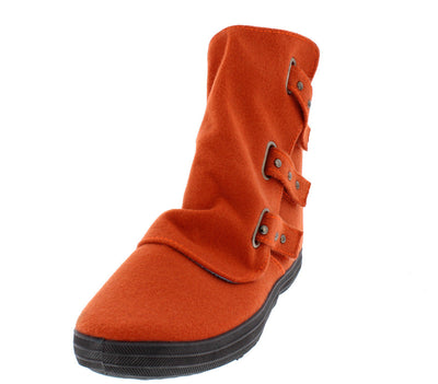 Solis01 Orange  Slouch Multi Stud Strap Ankle Boot - Wholesale Fashion Shoes