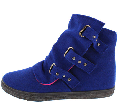 Solis01 Royal Blue Slouch Multi Stud Strap Ankle Boot - Wholesale Fashion Shoes