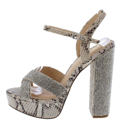 Sonny Brown Snake Women's Heel - Wholesale Fashion Shoes