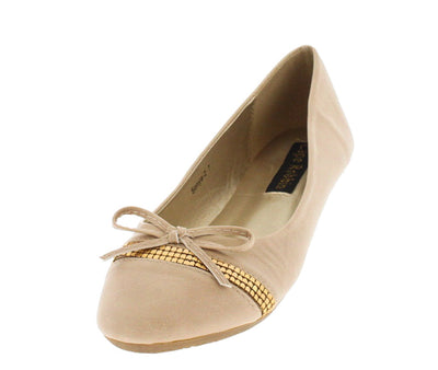 Sonya2 Beige Studded Strip Bow Ballet Flat - Wholesale Fashion Shoes