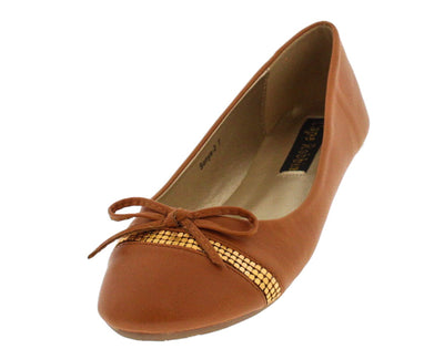 Sonya2 Camel Studded Strip Bow Ballet Flat - Wholesale Fashion Shoes