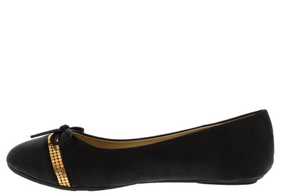 Sonya2 Black Studded Strip Bow Ballet Flat - Wholesale Fashion Shoes