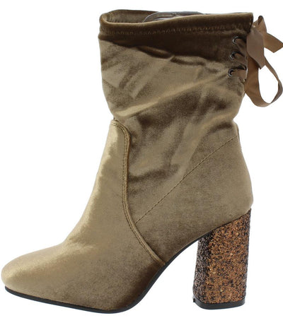 Asophia2 Taupe Velvet Rear Lace Up Glitter Heel Boot - Wholesale Fashion Shoes