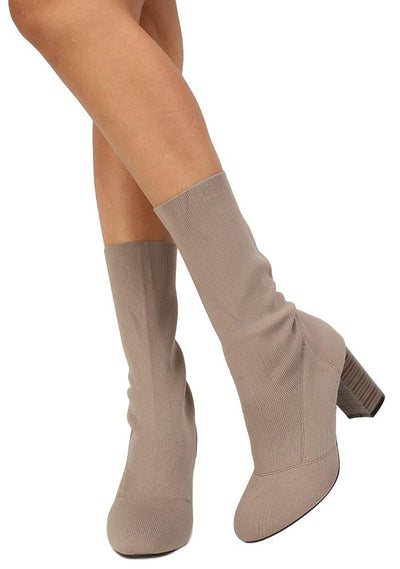 Sosa02 Taupe Stretch Knit Extended Ankle Boot - Wholesale Fashion Shoes