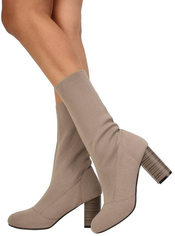 28338bd99833d Sosa02 Taupe Stretch Knit Extended Ankle Boot