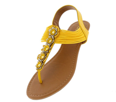 Soy Mustard Flower T Strap Slingback Thong Sandal - Wholesale Fashion Shoes