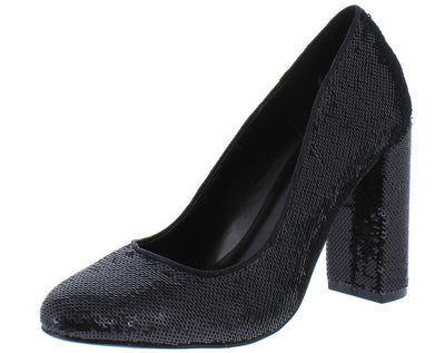 Aaliyah097 Black Sequin Almond Toe Block Pump Heel - Wholesale Fashion Shoes