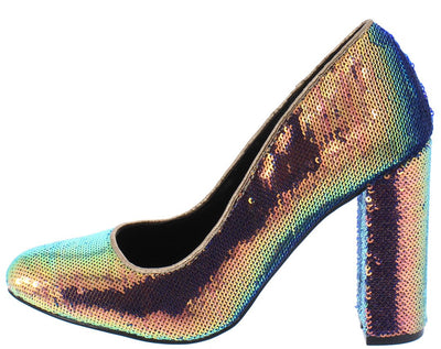 Aaliyah097 Multi Sequin Almond Toe Block Pump Heel - Wholesale Fashion Shoes