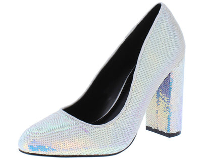 Aaliyah097 White Hologram Sequin Almond Toe Block Pump Heel - Wholesale Fashion Shoes