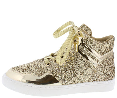 Sparkle26 Gold Patent Glitter Lace Up Sneaker Flat - Wholesale Fashion Shoes