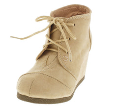 DAYANNA NUDE LACE UP WEDGE KIDS BOOT - Wholesale Fashion Shoes