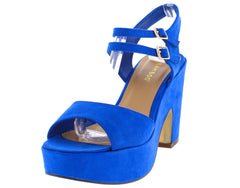 SPIN09S BLUE SUEDE DOUBLE ANKLE STRAP PLATFORM CHUNKY HEEL - Wholesale Fashion Shoes