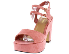 SPIN09S MAUVE SUEDE DOUBLE ANKLE STRAP PLATFORM CHUNKY HEEL